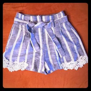 Striped Shorts with Lace Trim